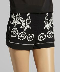 Another great find on #zulily! Black Floral Embroidered Shorts by Carapace #zulilyfinds