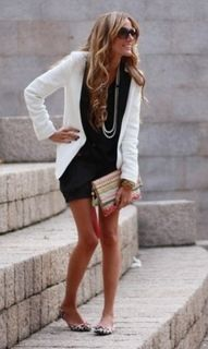 Flats and tuxedo jacket relaxed with a black cotton dress Jacket, Fashion, Black Outfits, Style, White, Blazers, Closet, Little Black Dresses, Flats