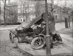 Auto wreck, Washington, circa 1917. D.C. license plate number for this car: 26.