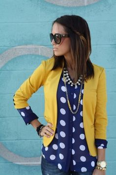 blue polka dots and yellow. Cute, artsy business attire the dot, fashion, polka dots, hair colors, blazer, color combos, blue, outfit, mustard yellow
