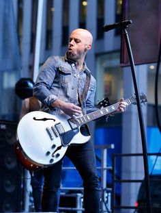"Chris Daughtry looks cool in denim during a performance on ""Fox & Friends"" on June 6 in New York"