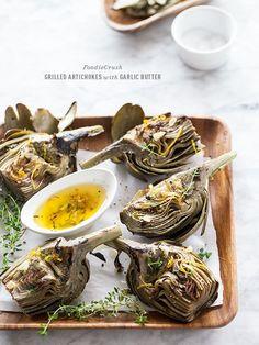 Grilled Artichoke with Garlic Butter   FoodieCrush.com