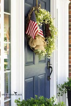 Patriotic Porch Decor Ideas | Just add flags to an existing door wreath! | On Sutton Place