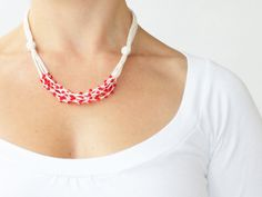 Red white necklace Natural linen necklace with glass beads Gift for her under 25 Spring fashion Multi strand necklace Crochet jewelry via Etsy