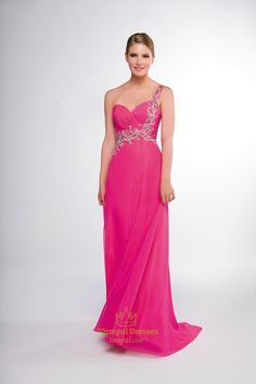 Pink One Shoulder Chiffon Maxi Prom Dress,Pink Prom Dresses 2014 With Straps