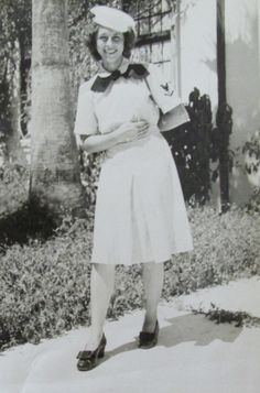Ida Scherf was clowning around in Navy dress with a cap that was out of uniform and didn't belong with her outfit. Photo provided ~