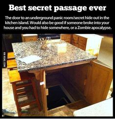 Hidden Room  panic room | basement | zombie apocalypse | secret passage | interior design | kitchen