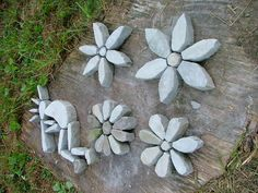 Stone Flowers Garden Art, could be made out of Hypertufa
