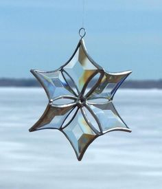 Clear Beveled Stained Glass Snowflake Ornament by SNLCreations