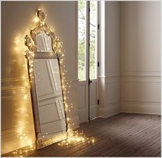 little girls, mirror mirror, restoration hardware, white lights, christmas lights, string lights, fairi, bedroom, girl rooms