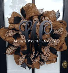 Burlap Wreath with burlap ribbon and monogram letter