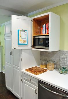 love the idea of hiding the microwave! | Young House Love