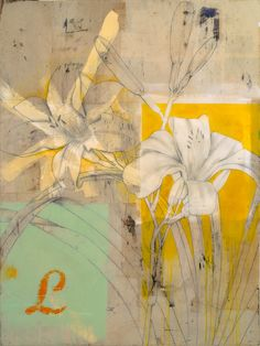 Lily 2 - paint, mixed media, collage, resin on panel 60x45 . Flickr