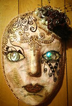 """Altered Paper Mache Mask--""""Face The Music"""" on Etsy, $30.00"""