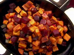 Sweet Potato and Beet Hash with caramelized onion and crisp bacon