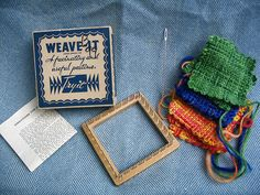 weaving--love these little looms.