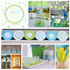 color schemes, blue green yellow birthday, birthday parties, fish parti, candi, bluegreen, fish birthday, first birthdays, 1st birthdays