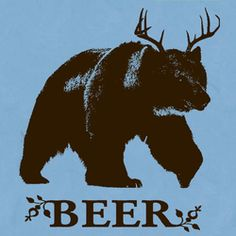 Bear + Deer Beer T Shirt Funny Hunting Fishing Drinking Tee