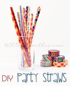 DIY washi tape party straws