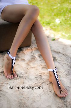 Tstrap+black+and+white+Barefoot+Sandals+Nude+shoes+Foot+by+barmine,+$18.00