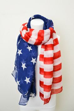 American Flag Scarf Patriotic July 4th Scarves Red White and Blue Regular Flag Scarf, Scarves