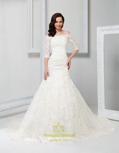 Off Shoulder Vintage Wedding Dress With Sleeves 2014,Off White Vintage Lace Wedding Dress