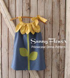 Sunny Flower Pillowcase Dress - Girl Sewing Pattern - PDF Pattern Tutorial Easy Sew Sizes 12m thru 10 included. $7.50, via Etsy. dress patterns, little girls, flower pillowcas, pillowcas dress, pillowcase dresses, flower dresses, flower girls, kid, sewing patterns