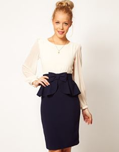 waist contrast, wear bow, style, dresses, pencil skirts