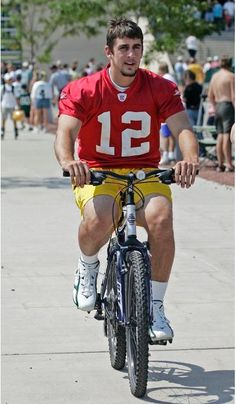 Packers players have been riding children's bicycles to training camp practice since the Vince Lombardi era. #ARod #12 #packers #nfl #trainingcamp #bicycles