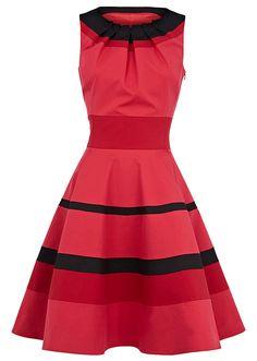 Vintage Round Collar Ruffled Stripe Flouncing Sleeveless Dress