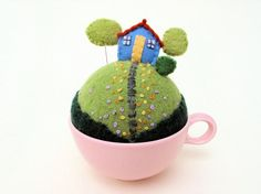 cottag, craft, alfineteiro pincushion, little houses, cups