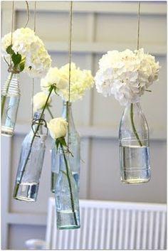 white flowers, vintage bottles, jar, hanging flowers, flower vases, wine bottles, old bottles, glas, parti