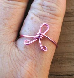 Wire Wrapped Ring Pink Breast Cancer Awareness by KissMeKrafty, $9.00  this is a must have @Nadine LeBlanc