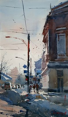 Chisinau views XII by Eugen Chisnicean Watercolor ~ 55cm x 34cm