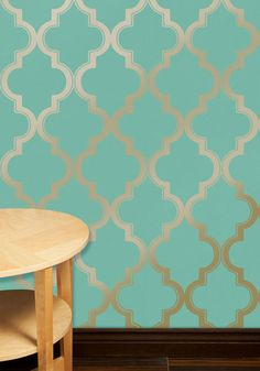 Temporary wallpaper! Love this for dorms or rental apartments!  Hyde Park Temporary Wallpaper - Blue, Gold, Print, Mint