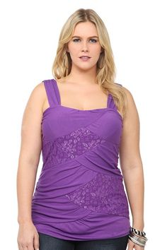 Purple Knit And Lace With Lurex Banded Tank Top | Tops
