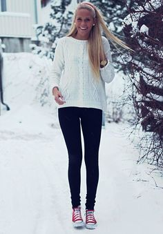 Sweater, leggings and converse knit sweaters, sweater and converse, convers outfit