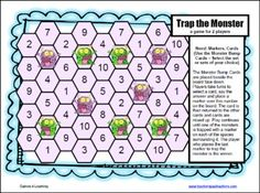 Cute Trap the Monster Division Board Game - 12 Printable Division Board Games from Games 4 Learning
