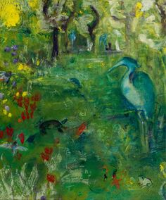 Vertical art print of herons, marsh, and critters