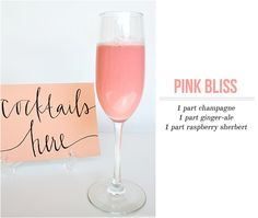 Pink Bliss Champagne cocktail - bridal shower drink!