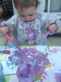 homemade paint recipe. 1 C water, 1 C flour, 1 C liquid dish soap, food coloring
