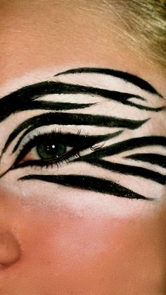Zebra eye makeup I did on myself!