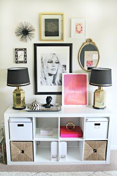 Pop's of Pink  Feminine Chic-Shannon Claire's Home Office Space feminine chic decor, chic office decor, chic home office ideas, pop of pink office, chic office space, decorating feminine, pink chic office, feminine apartment, chic apartment decor