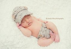 The Oliver Newsboy Cap in Oatmeal with Matching Diaper Cover $28