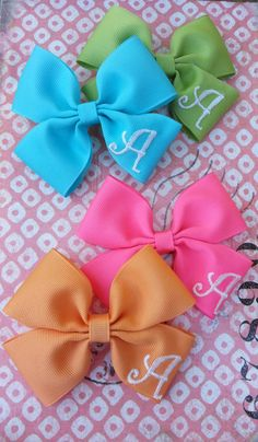 Embroidered Hair Bow with Initial by BabySewLovely on Etsy, $7.00