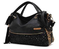 Tassels sequined leopard handbag shoulder bag