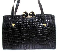 Rare SASHA Vintage Alligator Purse Designer Handbag Reptile Bag Jeweled  Bakelite Evening Purse Collectible Custom France
