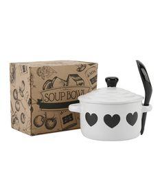 White Heart Soup Bowl + Spoon