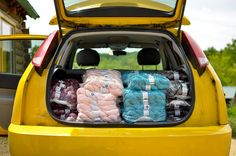 Jacqueline's car full of Lorna's Laces Yarn, via Flickr.