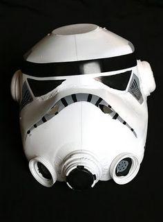 DIY stormtrooper helmet made from gallon milk jugs.